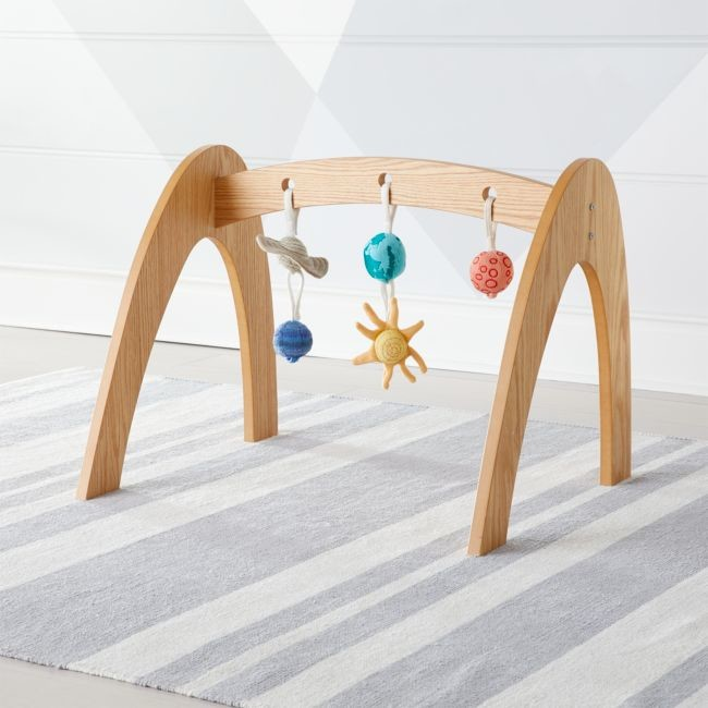 Crate & Barrel Wee Workout Wooden Baby Gym with Solar System Rattles, Set of 5