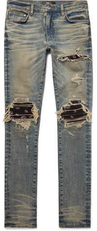Amiri Mx1 Skinny-Fit Rib-Panelled Distressed Stretch-Denim Jeans