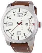 Tommy Hilfiger 1791013 Men's Watch – Analogue Quartz – Beige Dial Brown Leather Strap
