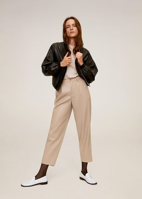 MANGO Relaxed fit cropped pants black - 4 - Women