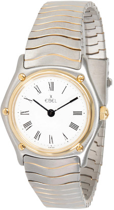 Ebel White 18K Yellow Gold and Stainless Steel Wave 181908 Women's Wristwatch 26MM