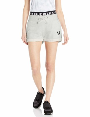 True Religion Women's Logo Waistband Sweat Shorts