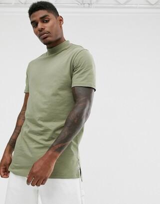 Asos Design DESIGNlongline jersey turtle neck with side splits in green