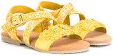 MonnaLisa glitter crossover strap sandals