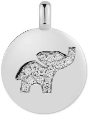 "CHARMBAR Swarovski Zirconia Elephant ""Dream Big"" Reversible Charm Pendant in Sterling Silver"