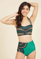 High Dive by ModCloth Set the Serene Swimsuit Bottom in Emerald in XL