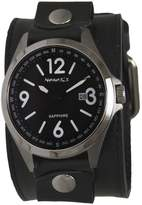 Nemesis Men's 'Sapphire' Quartz Stainless Steel and Leather Casual Watch, Color:Black (Model: LBB251K)