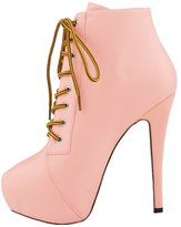 LOVEBEAUTY Women's Varieties of Colors Lace Up High Heel Platform Ankle Booties US 10(EU 42)