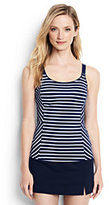 Lands' End Women's Petite Scoopneck Tankini Top-Deep Sea/White Media Stripe