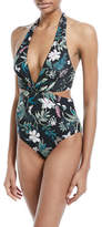 Kate Spade Floral-Print Knotted Halter One-Piece Swimsuit