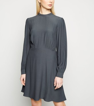 New Look Mid High Neck Puff Sleeve Dress