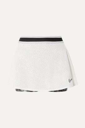 Nike Court Essentials Mesh And Floral-print Dri-fit Tennis Skirt - White