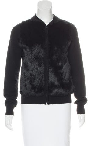 Vince Fur-Accented Wool Jacket