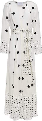 Leone We Are Belted Polka-dot Silk Crepe De Chine Robe