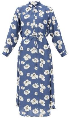 Apiece Apart Betina Floral-print Organic-cotton Shirt Dress - Navy Multi