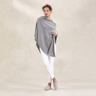 The White Company Poncho with Cashmere , Mid Grey Marl, Small