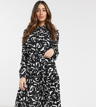 Mama Licious Mamalicious Maternity nursing shirt dress in abstract print