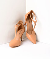 Unique Vintage Natural Tan Leatherette T-Strap Pointed Toe Pumps Shoes