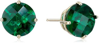 Amazon Collection 10k Yellow Gold Round Checkerboard Cut Created Emerald Stud Earrings (8mm)