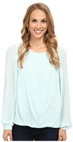 Vince Camuto Pleated Sleeve Wrap Front Blouse