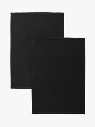 John Lewis & Partners Professional Cotton Tea Towels, Pack of 2, Black