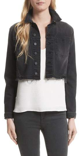 L'Agence Zuma Sequin Star Crop Denim Jacket