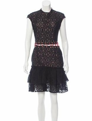Sandra Mansour Fall 2016 Lace Knee-Length Dress Black