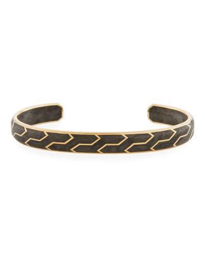 David Yurman Men's 85mm Forged Carbon and 18k Gold Cuff Bracelet