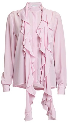 Victoria Beckham Ruffle Scarf Silk Blouse