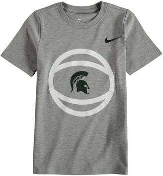 Nike Preschool Gray Michigan State Spartans Basketball and Logo T-Shirt