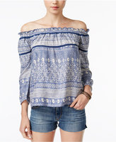 Roxy Juniors' Beach Fossil Printed Off-The-Shoulder Top