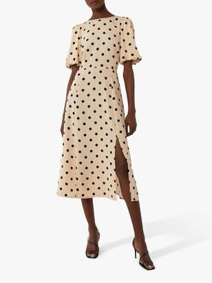 Warehouse Spot Puff Midi Dress