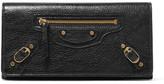 Balenciaga Classic Money Studded Textured-leather Wallet - Black