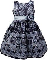 Sorbet Border Floral-Print Shantung Dress, Blue, Size 2-6x