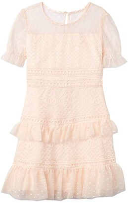 BCBG Girls Lace w/ Mesh Dot Puff Sleeve Dress (Big Kids) (Rose Petal) Girl's Dress