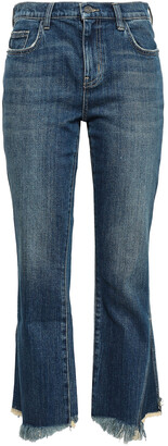 Current/Elliott The Fan Kick Frayed Mid-rise Kick-flare Jeans