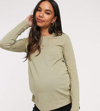 Asos DESIGN Maternity ultimate organic cotton crew neck long sleeve t-shirt in khaki-Green