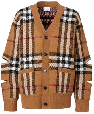 Burberry Cut-Out Sleeve Check Cardigan