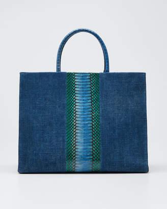 Nancy Gonzalez Double-Handle Linen Large Tote Bag