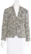 Monique Lhuillier Tweed Collarless Blazer