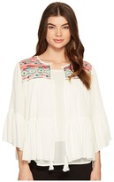 Romeo & Juliet Couture 3/4 Sleeve Aztec Embroidered Top