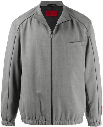 HUGO BOSS Pinstriped Pattern Zipped Jacket