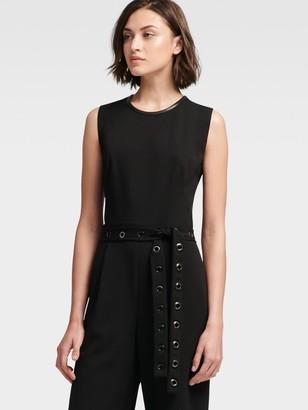 DKNY Women's Wide-leg Jumpsuit With Grommet Tie - Black - Size 0