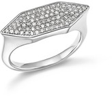 Adina Sterling Silver Pavé Diamond Stretched Hexagon Signet Ring