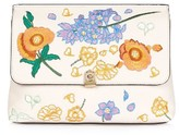 Topshop Floral Embroidered Faux Leather Clutch - Beige
