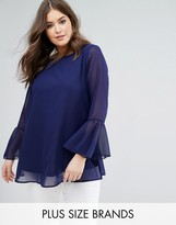 Koko Navy Bell Sleeve Embroidered Neck Blouse