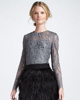 Milly Ivy Sheer-Top Lace Blouse, Gray