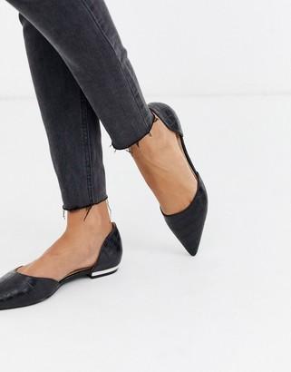 Raid RAID Amy two part flat shoes in black croc