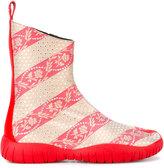 Maison Margiela striped floral boots - women - Cotton/Leather/rubber - 37