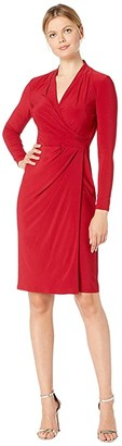 Lauren Ralph Lauren Classic Matte Jersey Faria Long Sleeve Day Dress (Scarlet Red) Women's Clothing